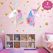 Large Size Unicorn Wall Decor Decal2 Pack Removable Unicorn Wall Stickers with Hearts and Stars for Girls Kids Bedroom Baby Nursery Room Birthday Party(Style 1)