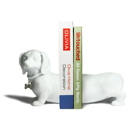 Danya B. Dachshund Dog Bookend Set - White