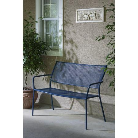 Alfresco Home Martini Garden Bench, Etta Blue Finish