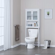 Spirich Bathroom Cabinets over the Toilet Shelf, Freestanding  Space Saver Organizer with Tempered Glass for Bathroom White