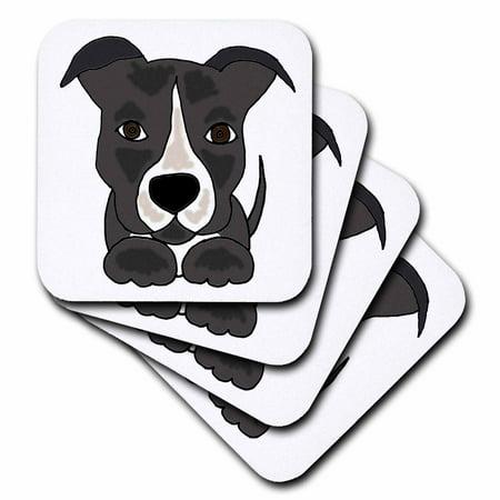 3dRose Funny Grey Pitbull Puppy Dog Cartoon, Ceramic Tile Coasters, set of 4