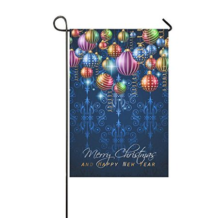 MYPOP Vintage Classic Christmas on Balls and Star Lights Yard Garden Flag 12 x 18 Inches ()