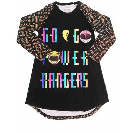 - Girls Go Go Power Rangers Nightgown Metallic Rainbow Powerranger Sleep Shirt XS