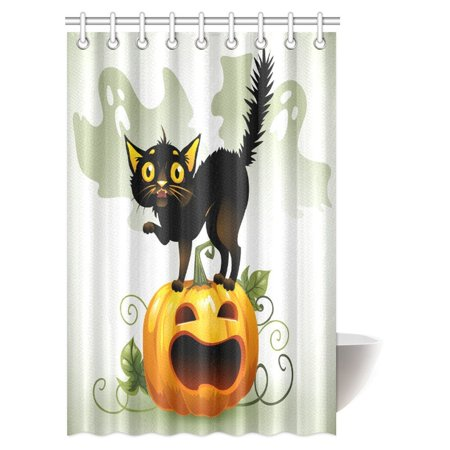 MYPOP Halloween Shower Curtain, Scared Black Cat on a Pumpkin and Ghost Fabric Bathroom Decor Shower Curtain Set with Hooks, 48 X 72 Inches (Cat Halloween Scared)