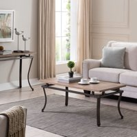 Eclipso Cocktail Table, Transitional Style, Natural w/ Gunmetal Gray