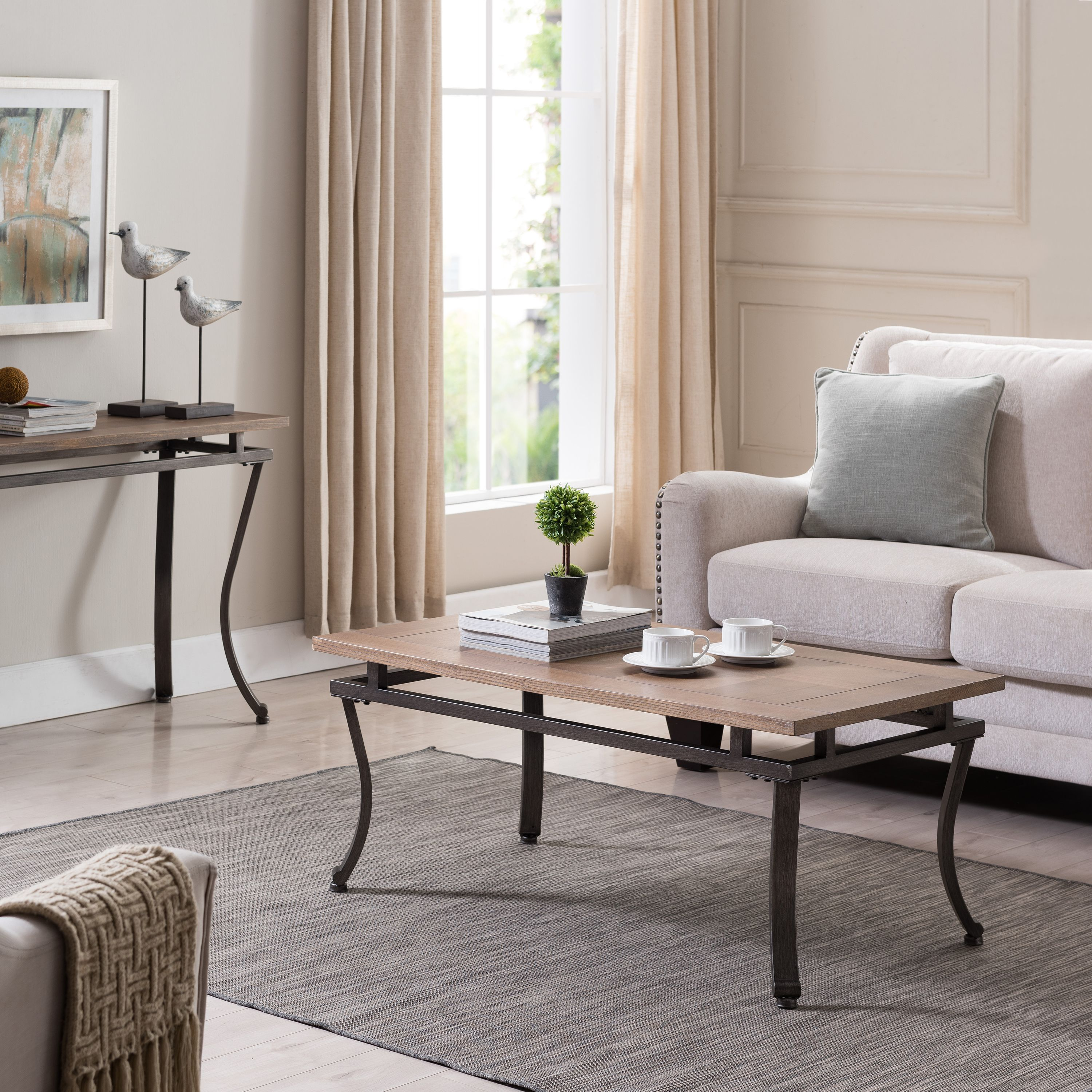 Southern Enterprises Eclipso Cocktail Table, Transitional Style, Natural w/ Gunmetal Gray