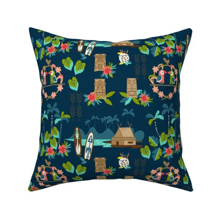 Tiki Vintage Tropical Hawaiian Throw Pillow Cover w Optional Insert by Roostery