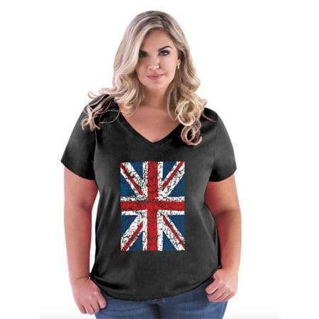 Vintage Union Jack British Flag United Kingdom Flag Women's Curvy Plus Size V-Neck Tee Union Jack Vintage