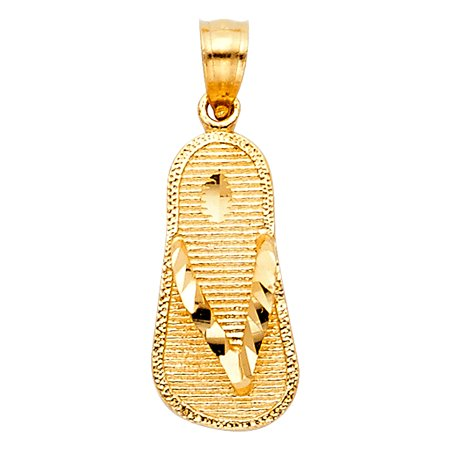 14K Yellow Gold Sandal Charm Pendant For Necklace or Chain