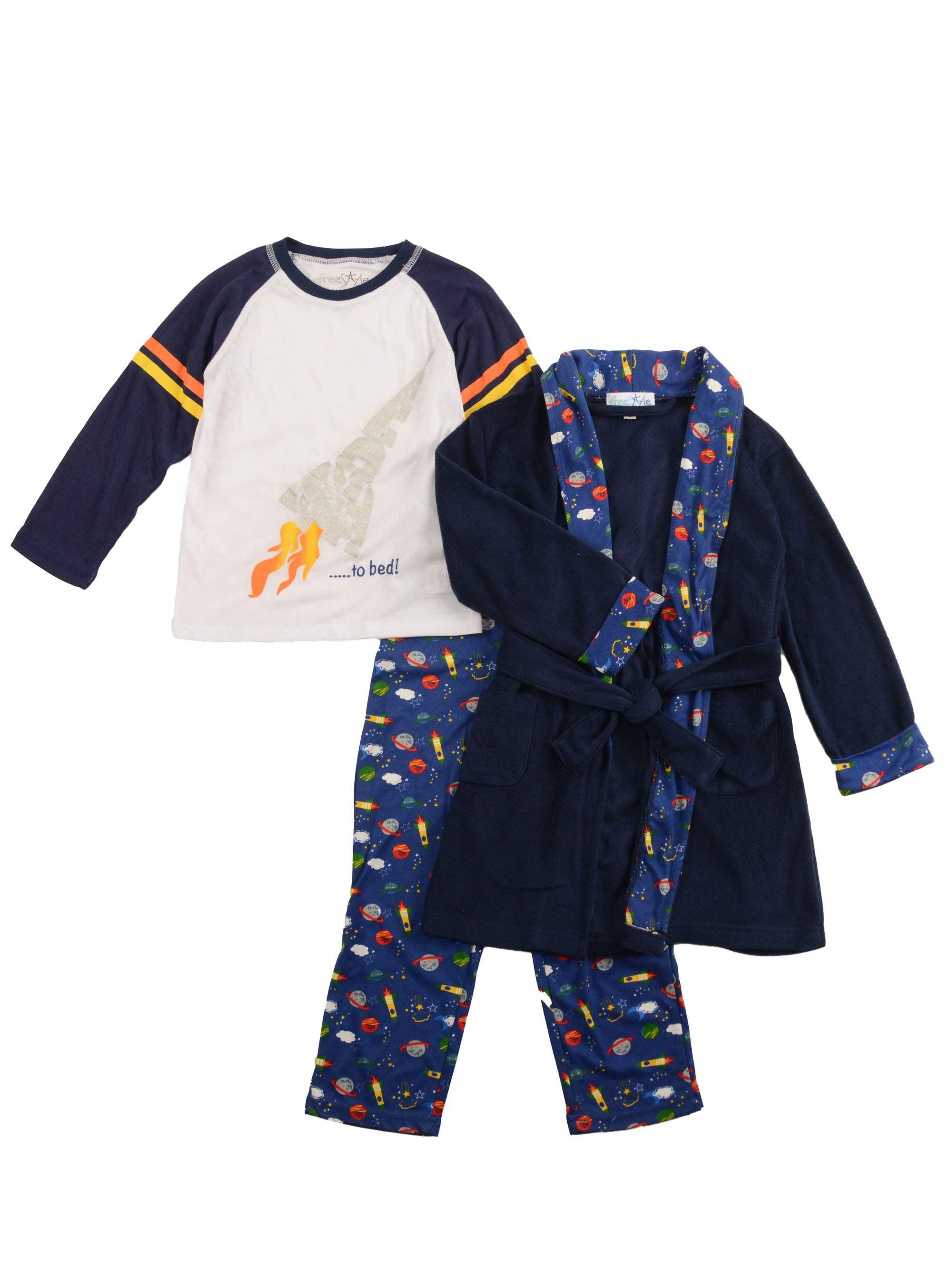 Bunz Kidz Space Long Sleeve Pajamas & Robe, 3-piece Gift Set (Toddler Boys)