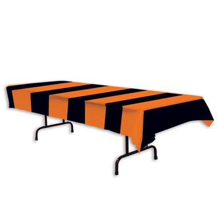 Classic Halloween Orange And Black Stripe Table Cover Party Decoration (Halloween Table Decorations To Make)