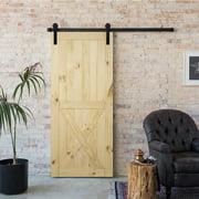 "BELLEZE Modern Pine Unfinished Lower X Sliding Barn DIY Door 36"" x 84"" inches"