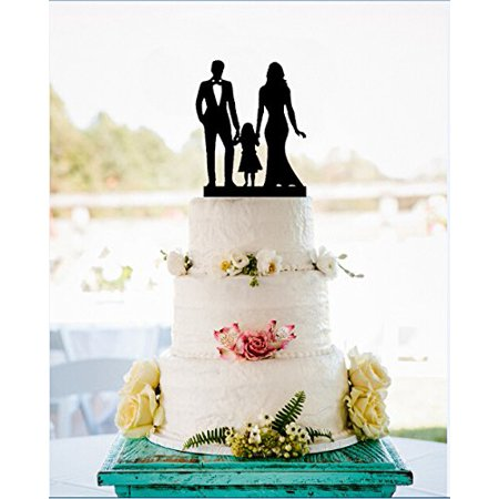 Tayyakoushi Family Silhouette Wedding Cake Topper with Girl,Anniversary Bride and Groom Cake Topper,Script Cake Topper,Funny Wedding Cake Topper,Silhouette Party Favors Decor