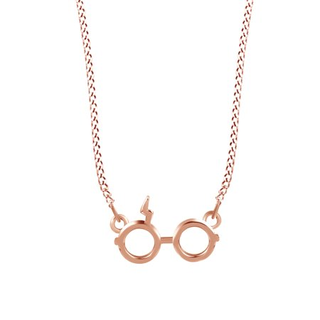Harry Potter Glasses Charm Pendant Necklace In Rose Gold Over Sterling Silver