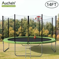14 FT Trampoline, AUCHEN 2020 Upgraded Outdoor Round Trampoline with 9-Piece 6FT High Safety Enclosure, Basketball Hoop and Ladder  Heavy Duty Frame and Coiled Springs - Trampoline for Kids(Green)