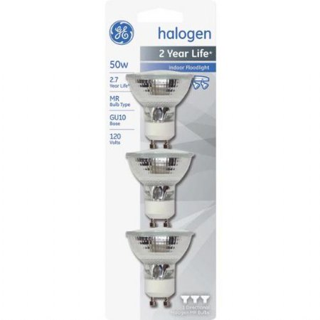 GE MR16 Indoor Halogen Floodlight Light Bulbs, 50W,