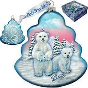 GDeBrekht 762-012 Polar Bear Tree Glass Ornament