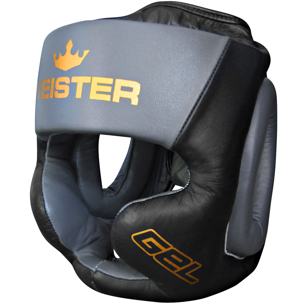 Meister Gel Full-Face Training Head Guard for MMA, Boxing & Muay Thai - Black/Charcoal/Gold - Small / Medium