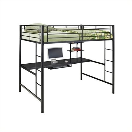 Pemberly Row Metal Full over Workstation Bunk Bed in Black - image 1 de 1
