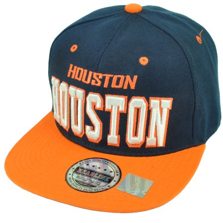Houston Space City H Town Navy Orange Snapback Flat Bill Hat Cap Texas (Texas City Outlets Stores)