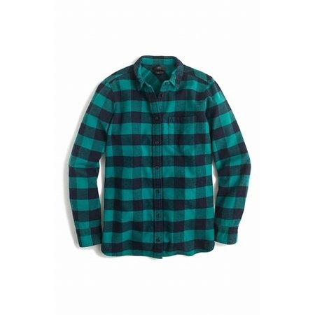 234a49bb J.Crew - J.Crew NEW Green Womens Size 10P Petite Button Down Flannel `Shirt  - Walmart.com