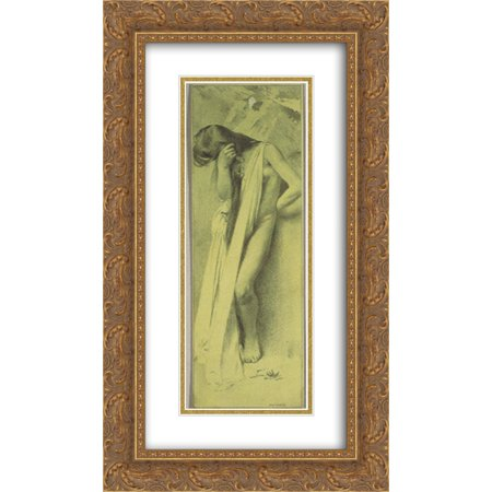 Leaf Fine Gold Plate - Koloman Moser 2x Matted 14x24 Gold Ornate Framed Art Print 'Reproduction template for the right part of the leaf for Gerlach's love allegories. New Series, Plate 30'