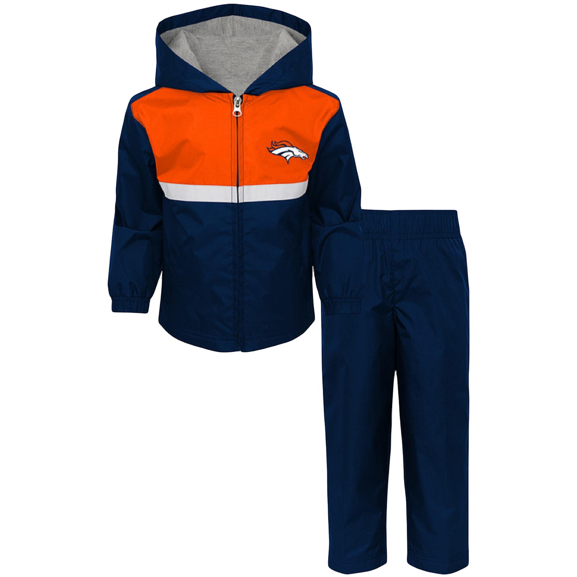 Toddler Navy/Orange Denver Broncos Full-Zip Jacket & Pants Set