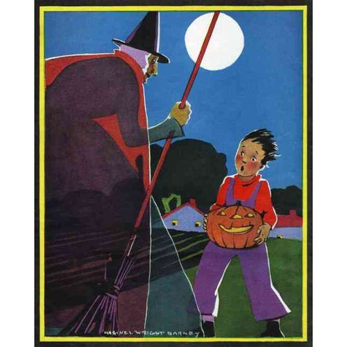 Boy Carrying Jack-O-Lantern Startled by Witch - Halloween Greeting Card (6 Cards Individually Bagged W/ Envelopes & Header)