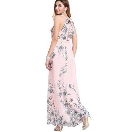 Fashion Floral Print Sleeveless Long Maxi Dresses for Women Summer Beach Sundress Gown Casual Sling