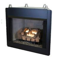 "24"" Manual EverWarm Palmetto Oak Gas Logs and EWVF36 Firebox - LP"