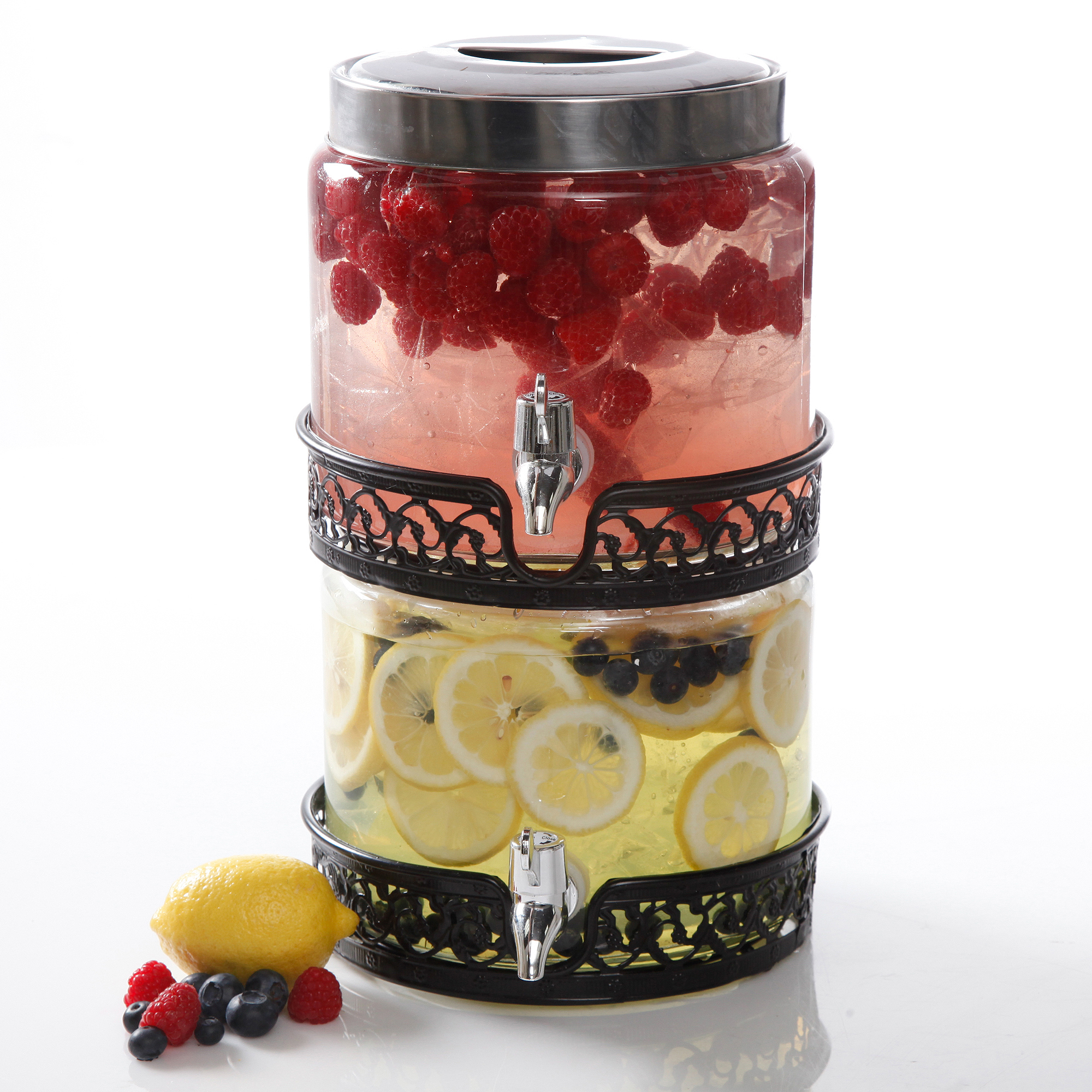 Gibson Home San Louis 0.8 gal Stackable Glass Drink Dispenser, Glass, 2-Pack
