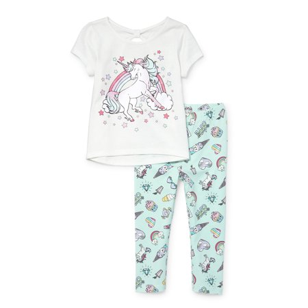 The Children's Place Unicorn T-shirt and Printed Leggings, 2pc Outfit Set (Baby Girls & Toddler - Girls Clothes Clearance