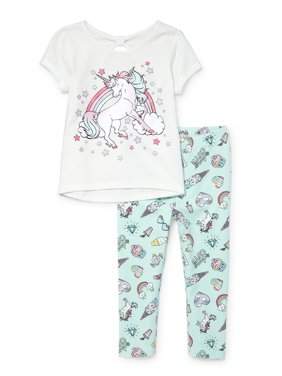 420afa0e Product Image The Children's Place Unicorn T-shirt and Printed Leggings,  2pc Outfit Set (Baby