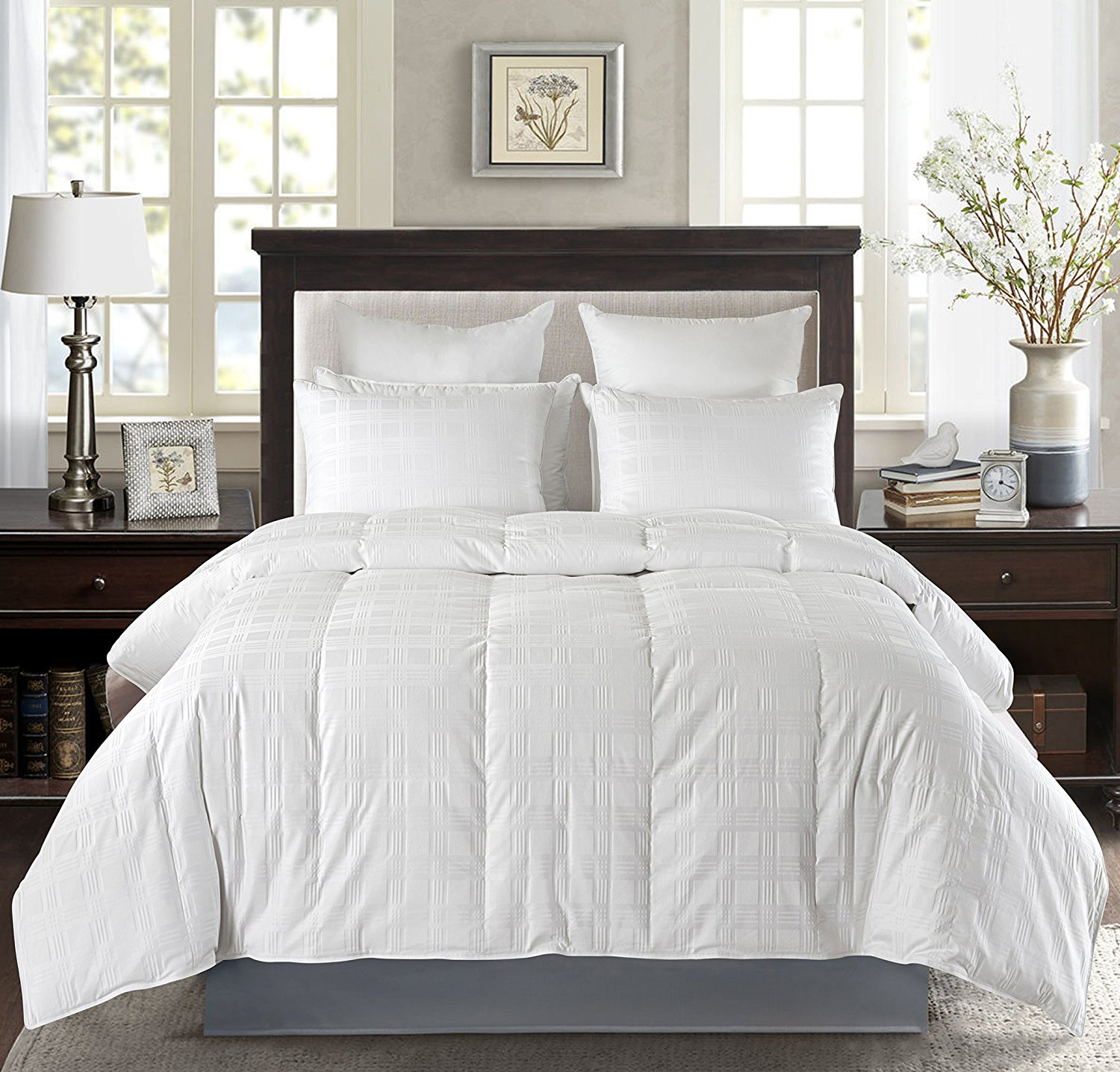 Luxury Baffle Box White Down Comforter,600 Thread Count 650 Fill Power Duvet Insert , White