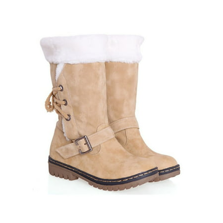 White Fur Boot Covers (Women's Winter Boots Snow Fur Warm Insulated Waterproof Midi Calf Ski)