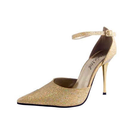 "Womens 4"" Gold Steel Stiletto Heel D-Orsay Pointed Toe Pump Shoes"