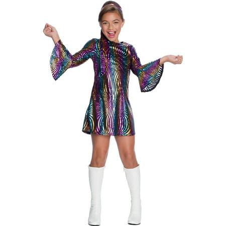 Girls Rainbow Swirl Disco Diva 1960s Costume