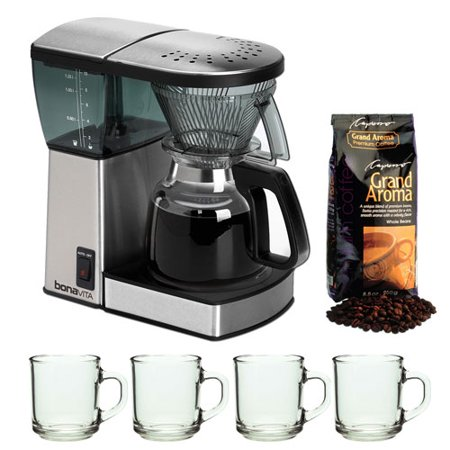 Bonavita BV1800 8 Cup Coffee Maker With Glass Carafe with Knox 16oz. Mug With Spoon (4 Pack ...