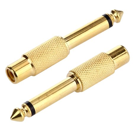 AMZER 3.5mm to 6.35mm headphone jack adaptor Male Socket to Female Jack Plug Audio AUX Stereo Gold Adapter 24K Gold Plated, 6.35mm Male to 3.5mm