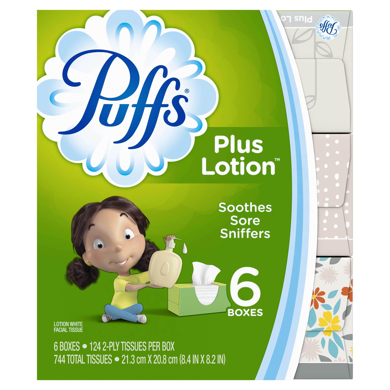 Puffs Plus Lotion White Facial Tissues 6-124 ct Boxes
