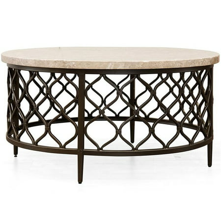 Fretwork Coffee Table.Steve Silver Roland 36 Round Stone Top Coffee Table In Yellow
