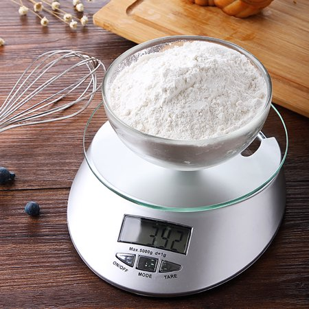 Farmhouse Kitchen Scale Food Scale with LCD Display, Digital Weight Scale 11 lb 5 kg, 0.1oz/1g, Stainless Steel Baking Cooking Scale with Bowl , Range Precision & Eletric Digital Clock