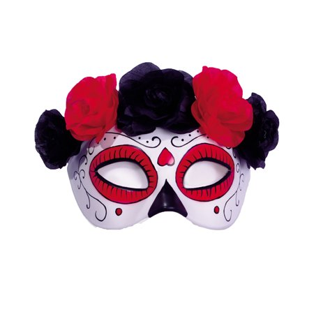 Day Of The Dead Sugar Skull Half Mask With Red Black Roses - Sugar Skull Mask Halloween