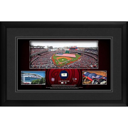 """Washington Nationals Framed 10"""" x 18"""" Stadium Panoramic Collage with a Piece of Game-Used Baseball - Limited Edition of 500 - Fanatics Authentic Certified"""