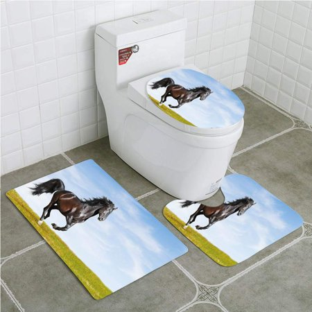 GOHAO Horse Black Kladruby Horse Rearing Up Freedom Cheerful Sunny Summer Day Light 3 Piece Bathroom Rugs Set Bath Rug Contour Mat and Toilet Lid Cover