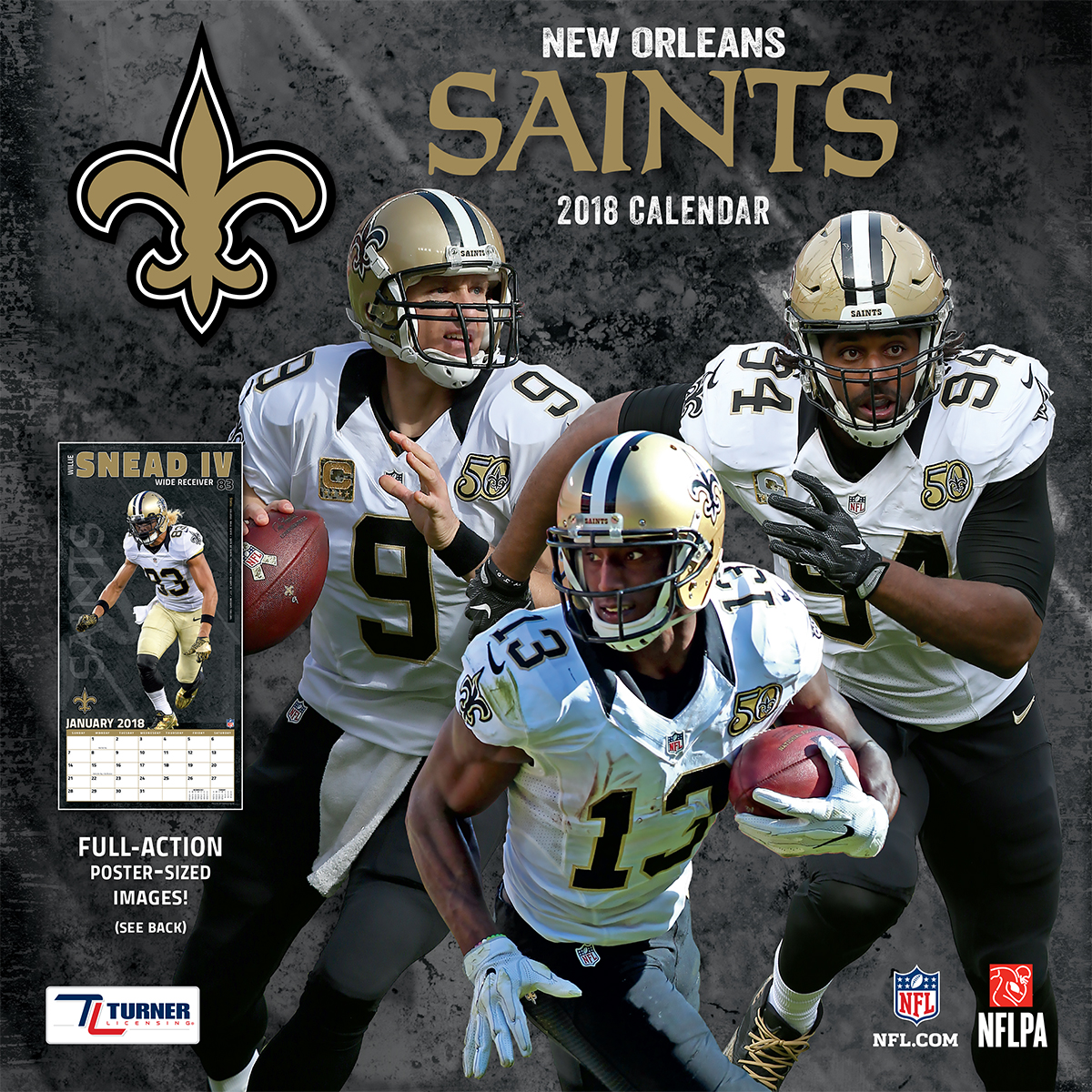 Turner Sports New Orleans Saints 2018 12x12 Team Wall Calendar