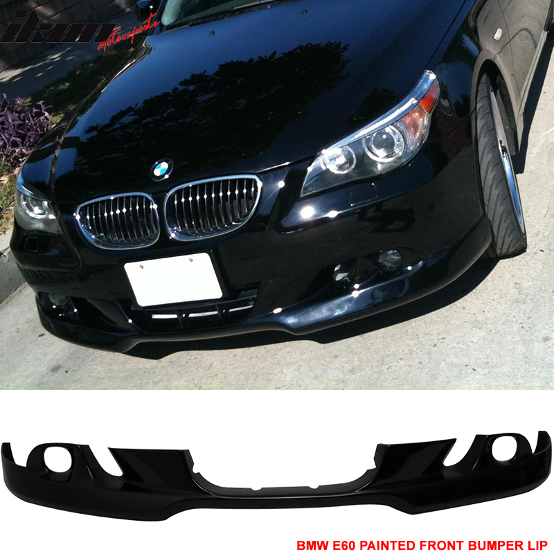 Fits 04-07 BMW E60 5-Series Front Bumper Lip AC Style Painted Jet Black #668