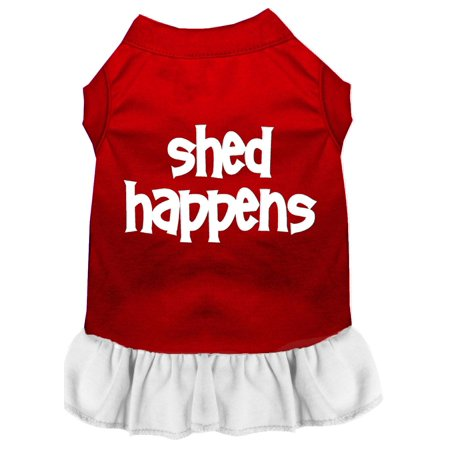 Mirage Pet 58-16 MDRDWT Shed Happens Screen Print Dress, Red with White - Medium