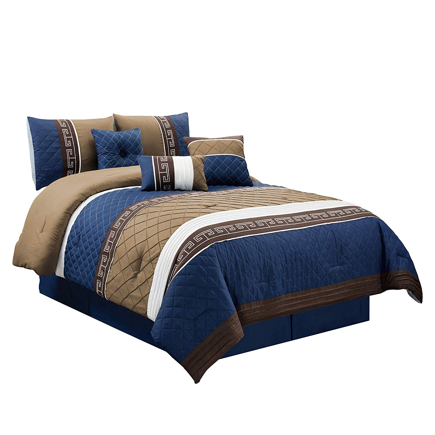 Chezmoi Collection Marcia 7-piece Pleated Striped Diamond Quilted Embroidered Comforter Set