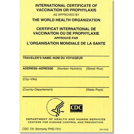 International Certificate of Vaccination Prophyaxis as Approved by the World Health Organization = Certificat International de Vaccination Ou de Prophylaxie Approuve Par L'Organisation Mondiale de La Sante, November 2007 : Packages of